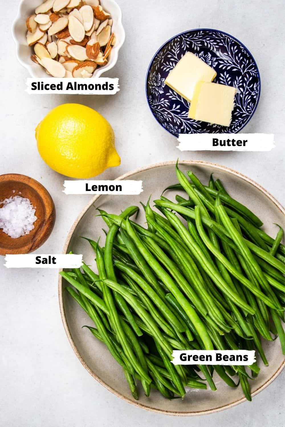 Ingredients for green beans amandine.