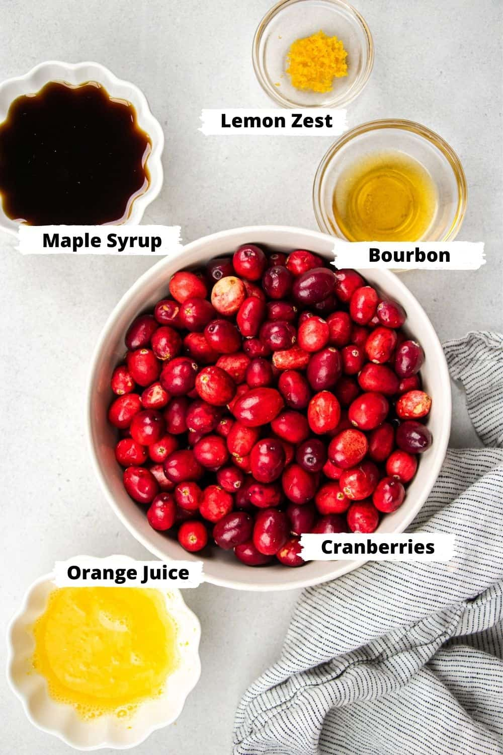 Ingredients for Bourbon Cranberry Sauce.
