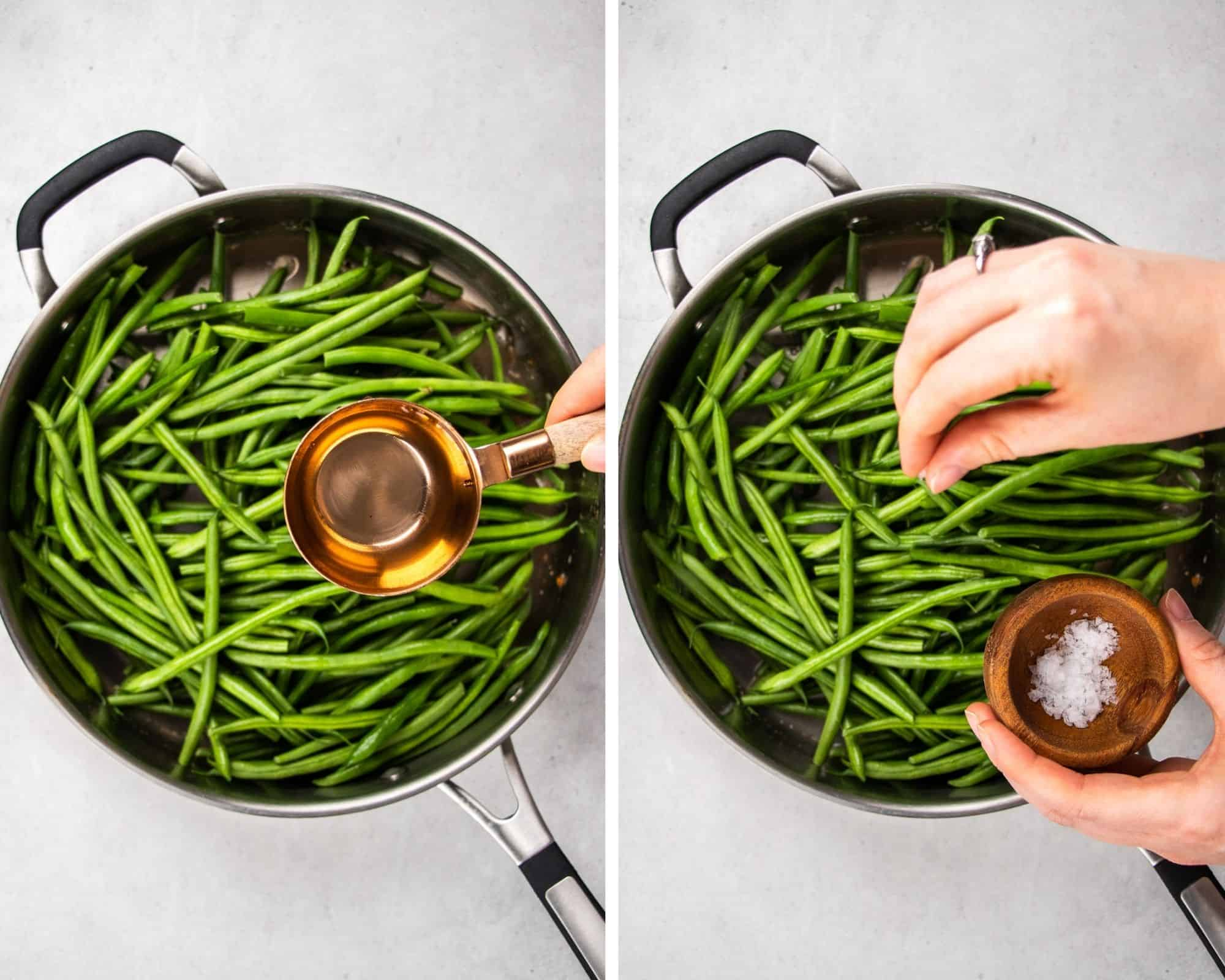 Process photos of how to make green beans amandine.