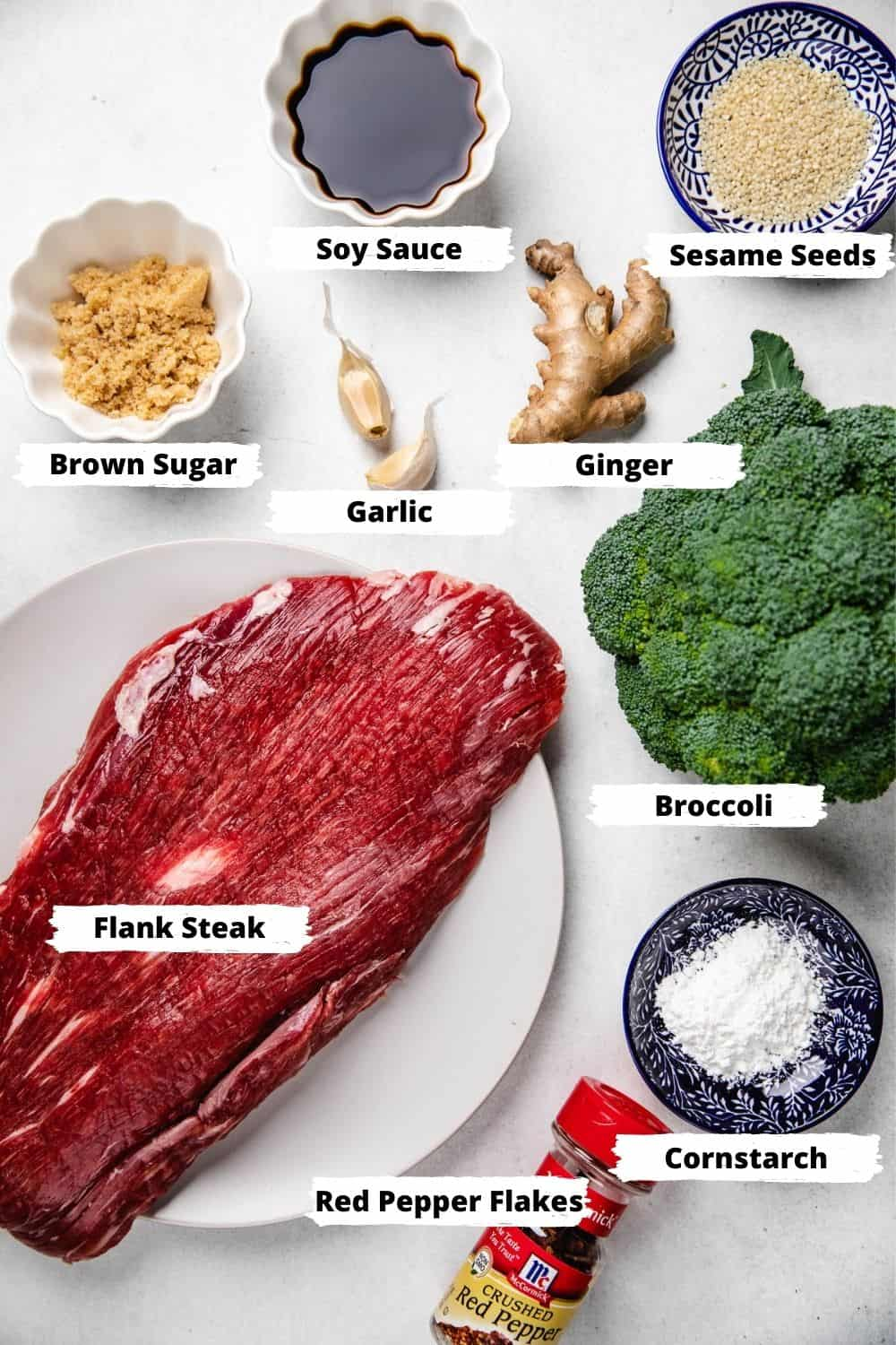 Ingredients for Beef and Broccoli on a table.