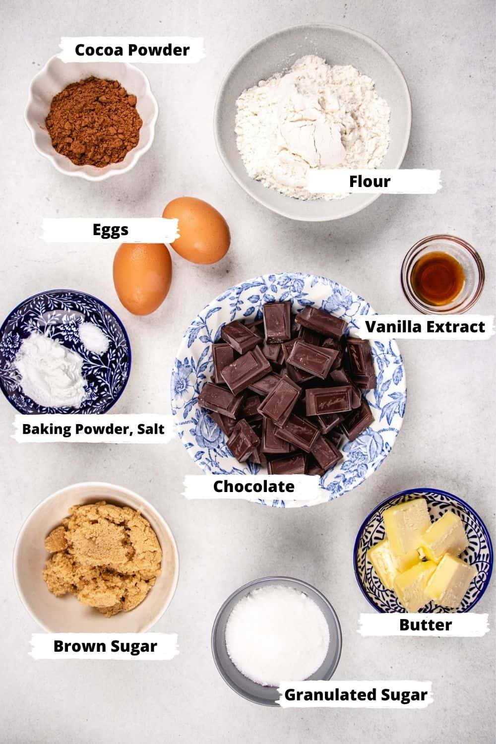 Ingredients for brownie cookies.