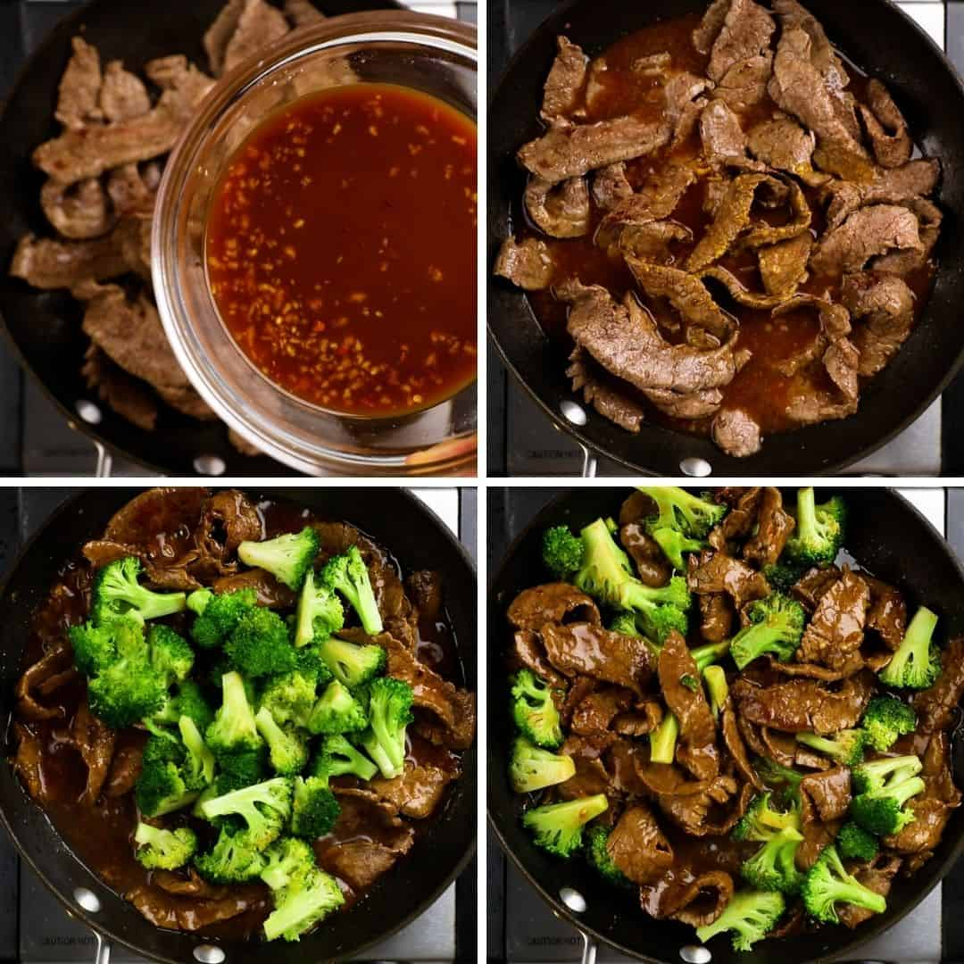 Process photos of how to make Beef and Broccoli.