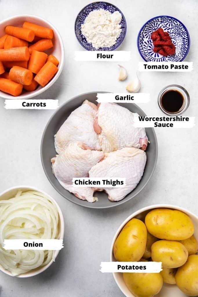 Ingredients for chicken stew.
