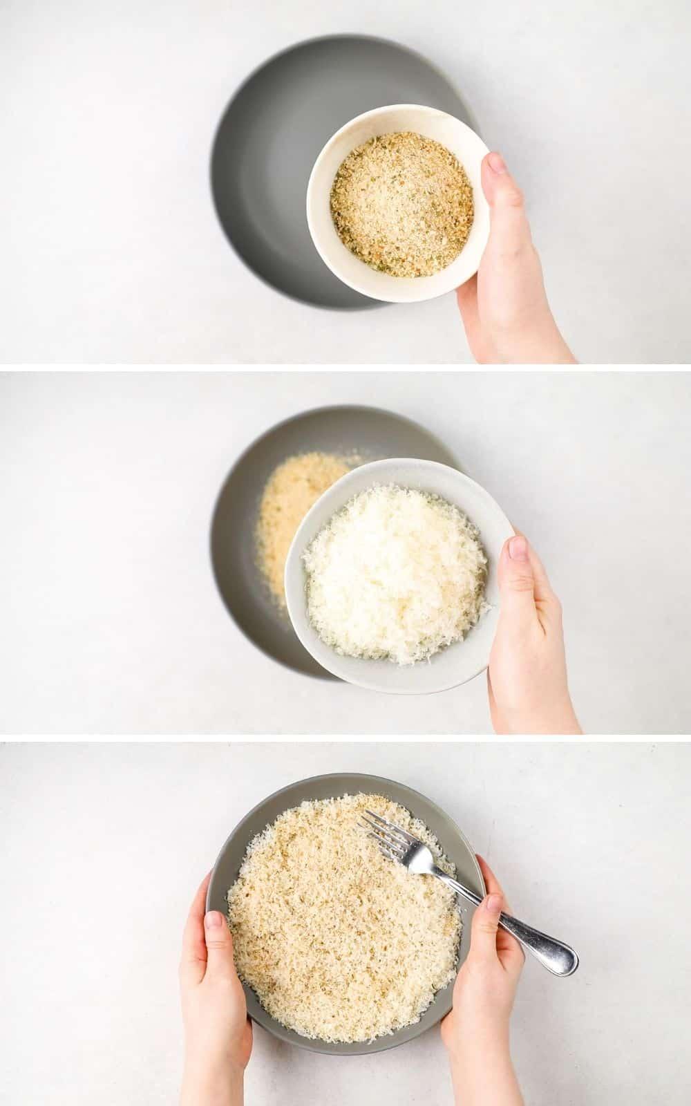 Process photos of mixing panko crumbs and Parmesan cheese.