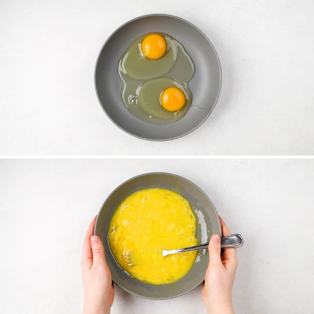 Process photos of mixing eggs in a grey bowl.