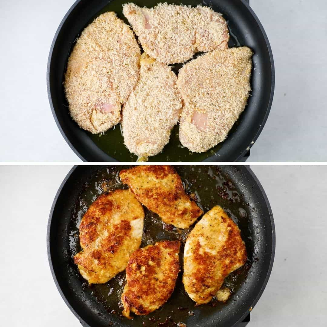 Procces photos of pan searing chicken cutlets.