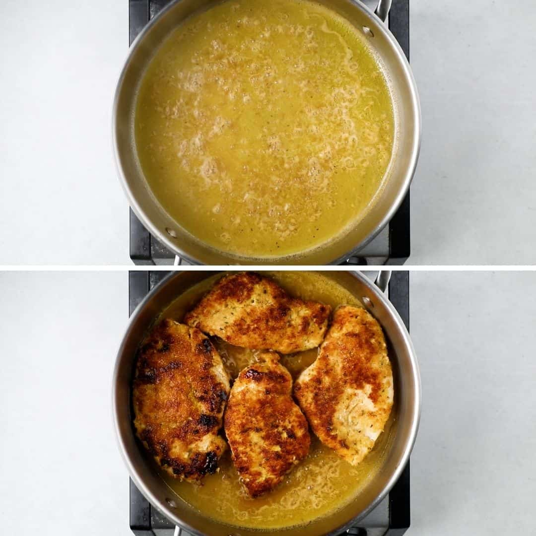 Process photos of putting chicken cutlets into a pan with lemon sauce.