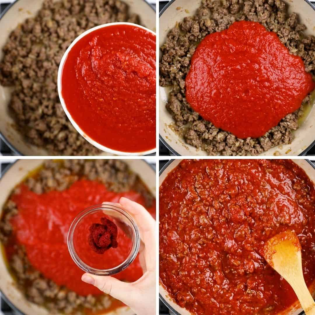 Process photos of adding tomato sauce and paste to ground beef.