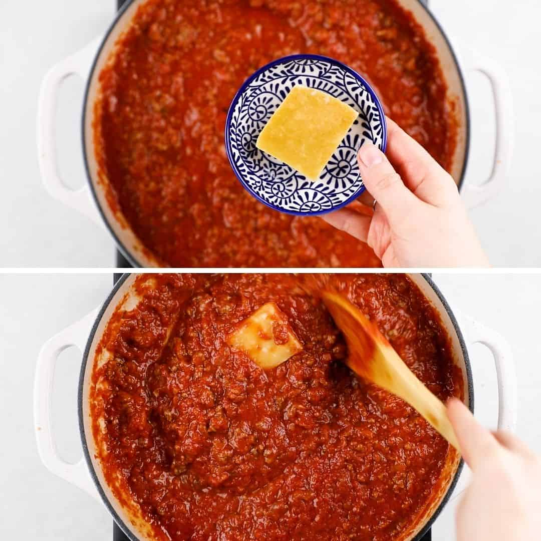Process photos of adding Parmesan rind to meat sauce.