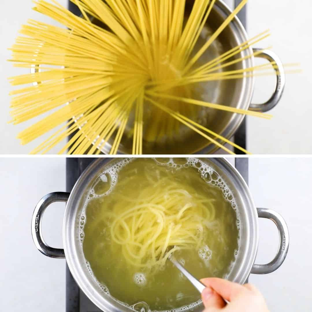 Process photos of cooking spaghetti.