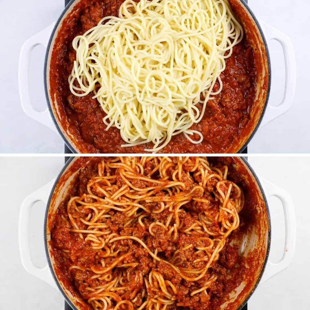 Process photos of adding cooked spaghetti to meat sauce.