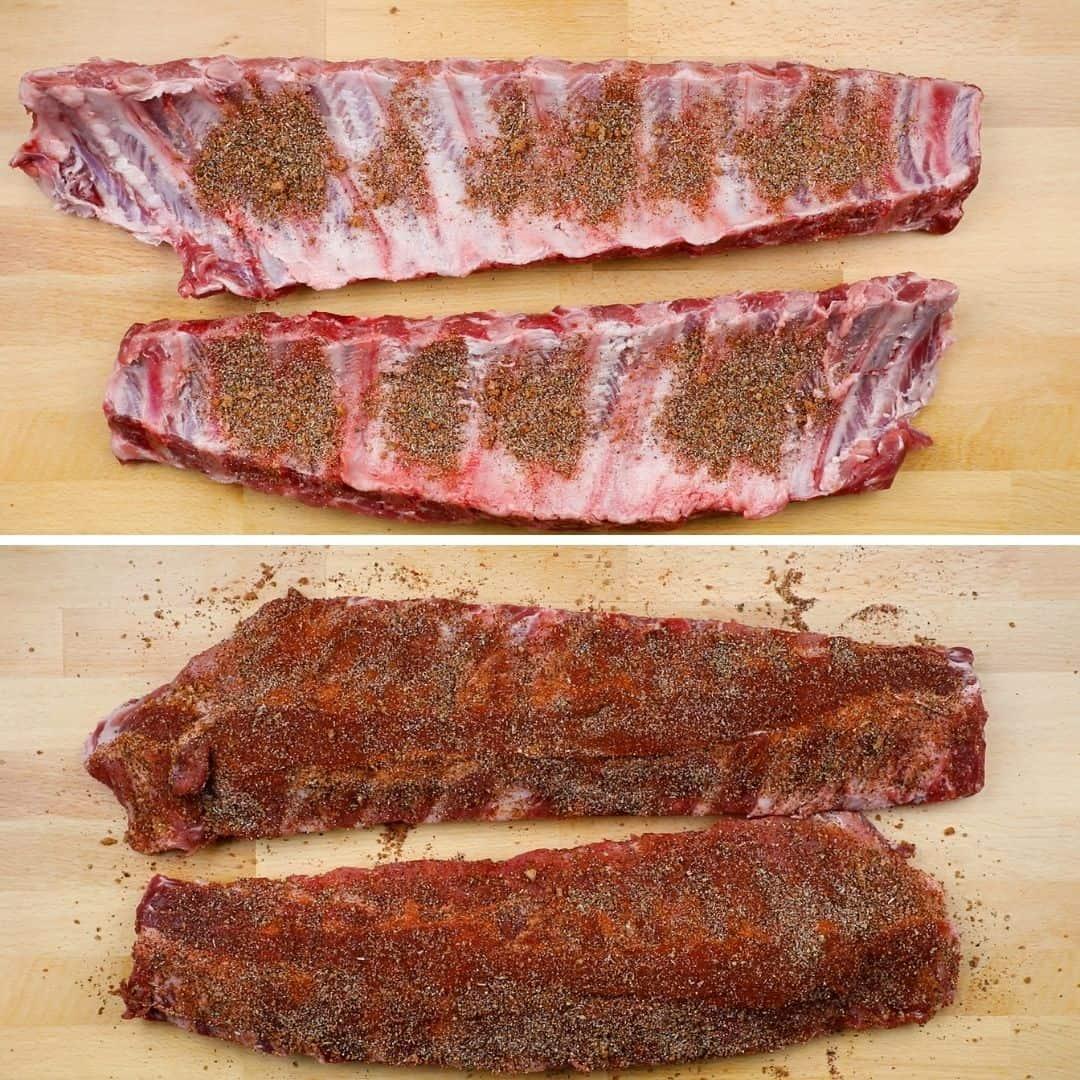 Porcess photos of seasoning the ribs with dry rub.