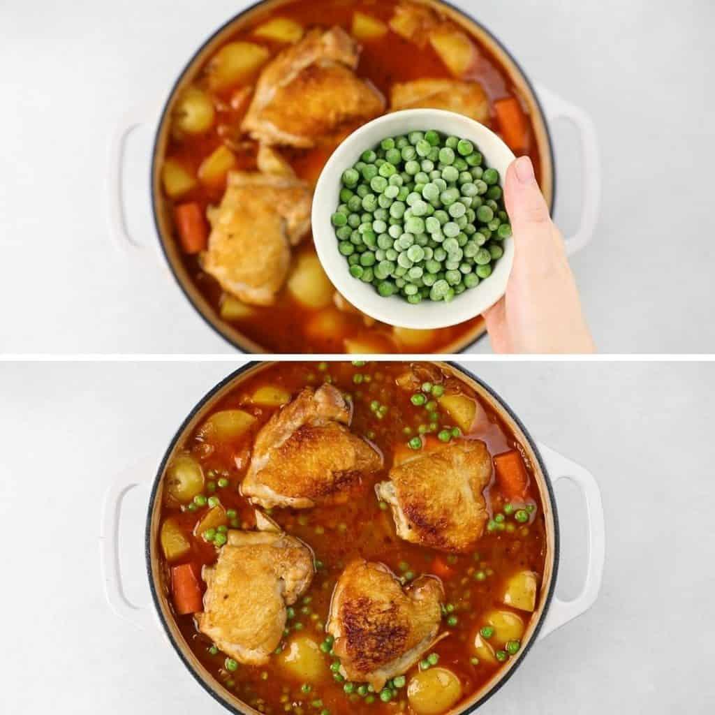 Progress photos of making chicken stew.