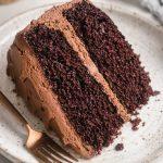 A slice of a chocolate cake on a white plate.
