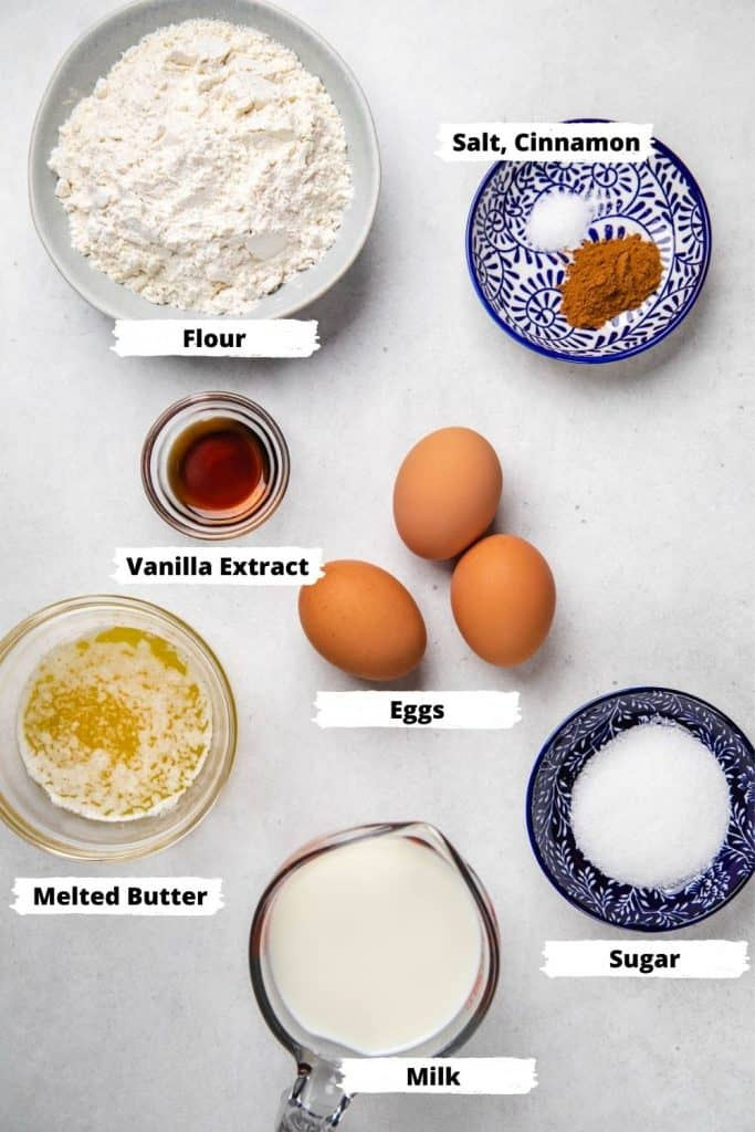 Ingredients for crepes.