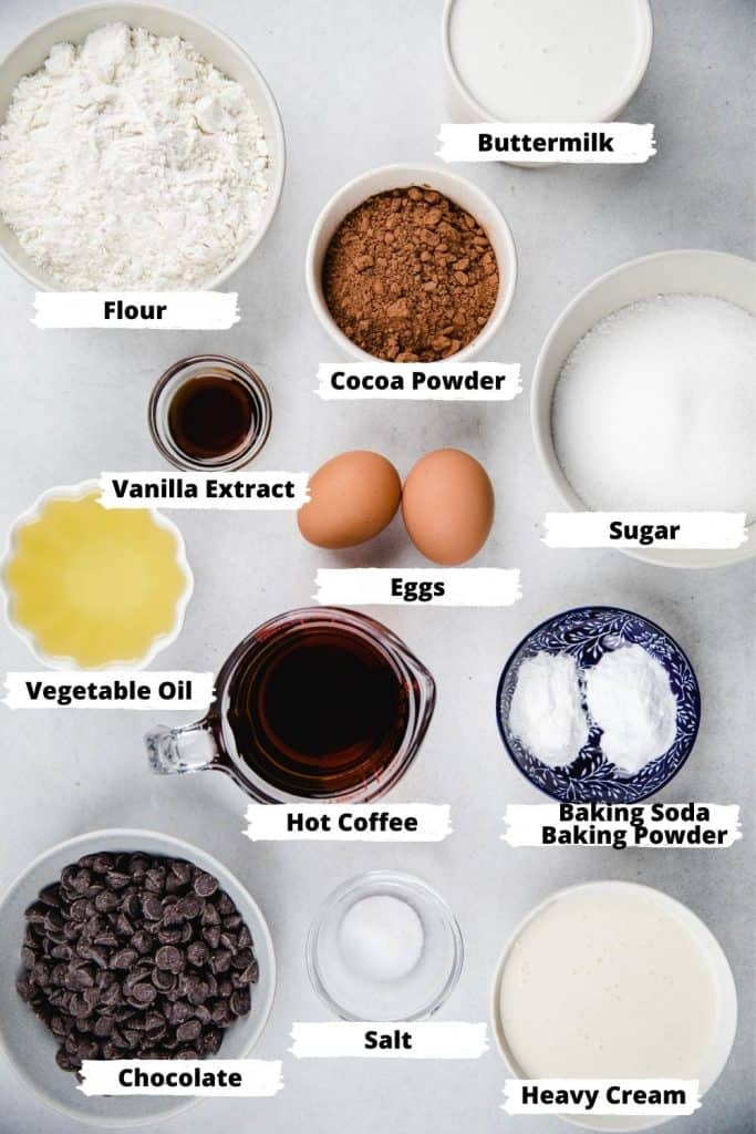 Ingredients for a chocolate cake.