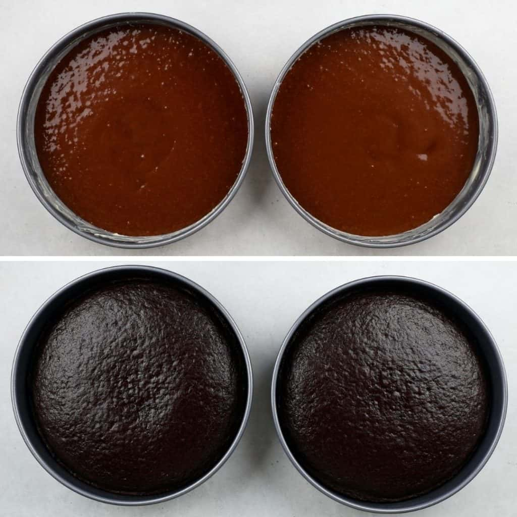 Process photos of a chocolate cake before and after baking.