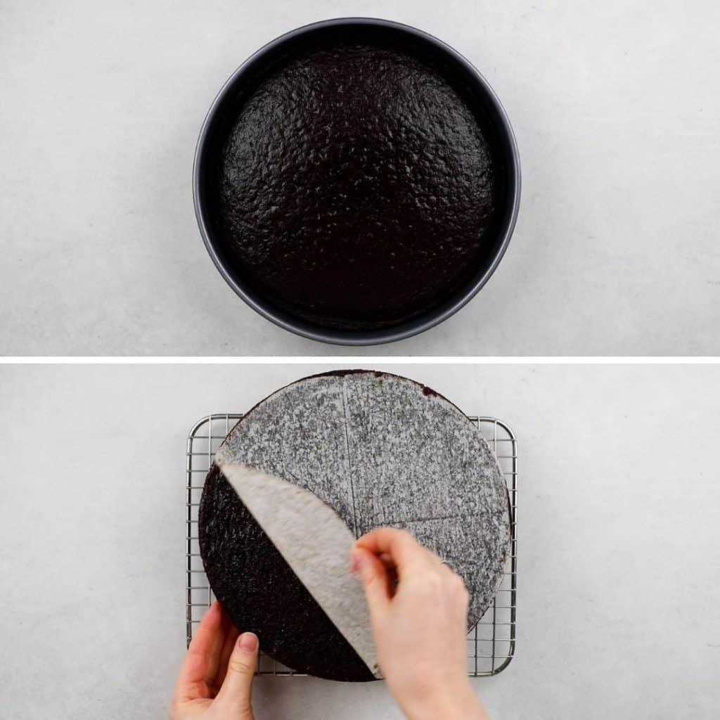 Process photos of making a cake.