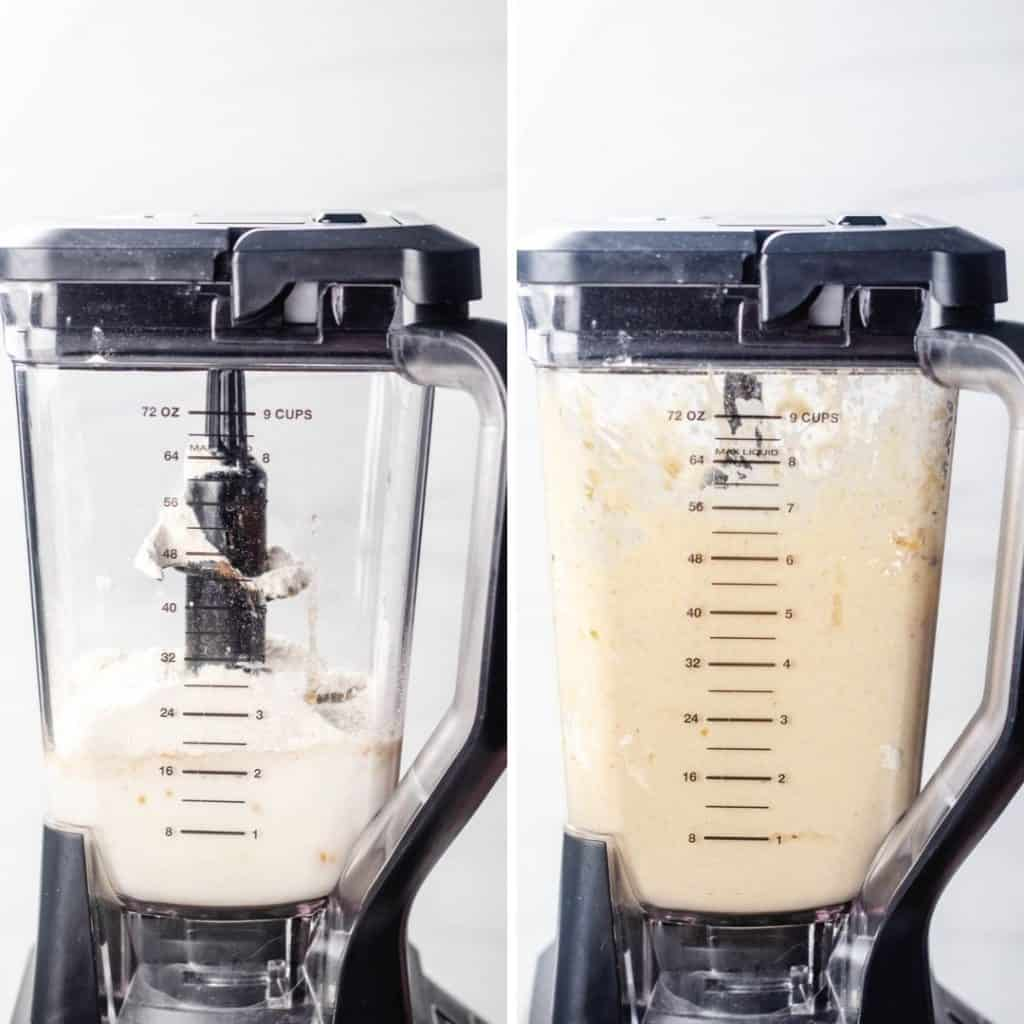 Process photos of mixing crepes batter in a blander.