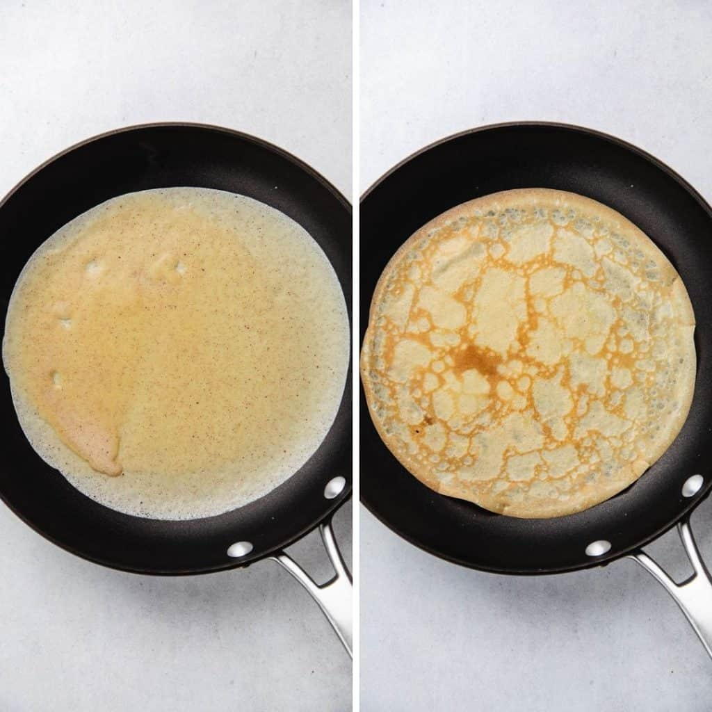 Process photos of cooking crepes in a skillet.