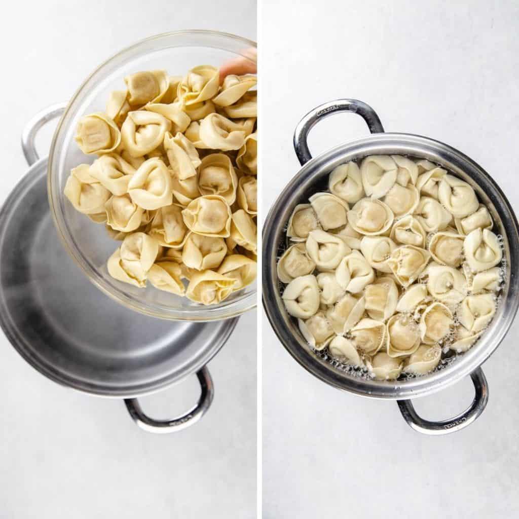 Progress photos of cooking torellini.