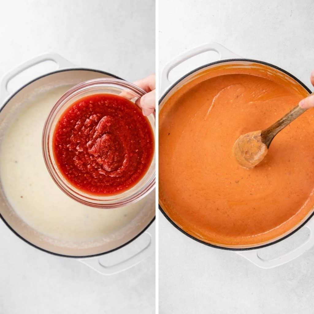 Progress photos of making creamy tomato sauce.
