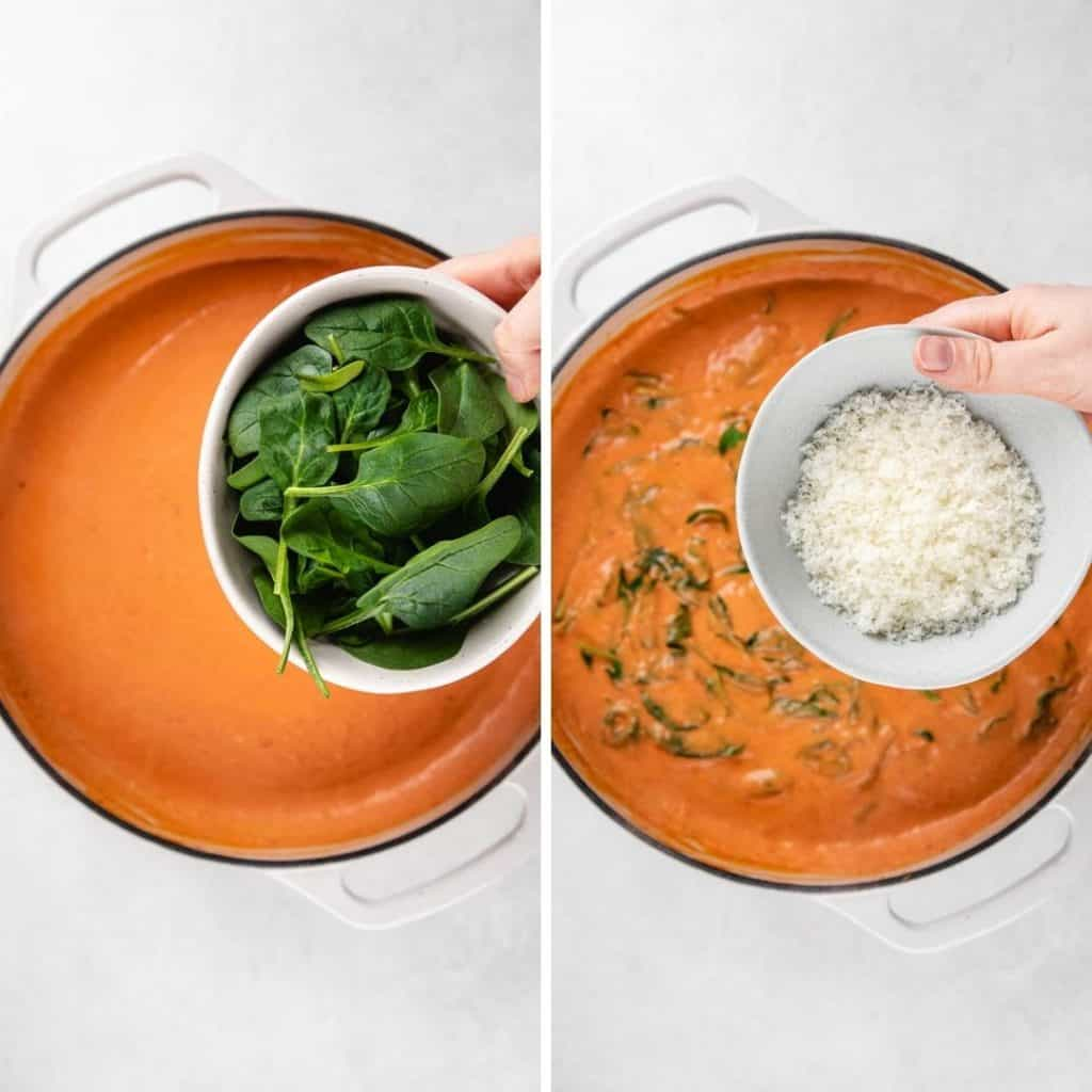 Progress photos of adding spinach and Parmesan cheese to the bluch sauce.