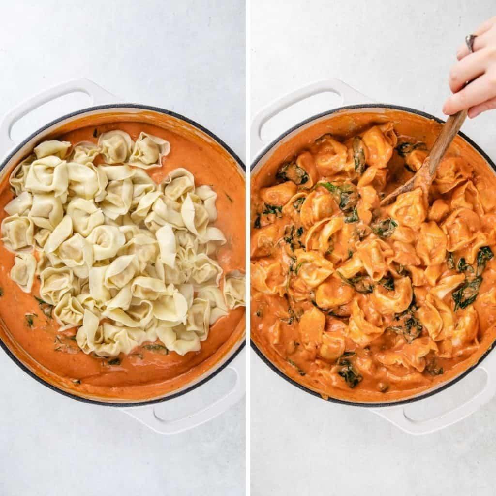Process photos of adding tortellini to the creamy tomato sauce.