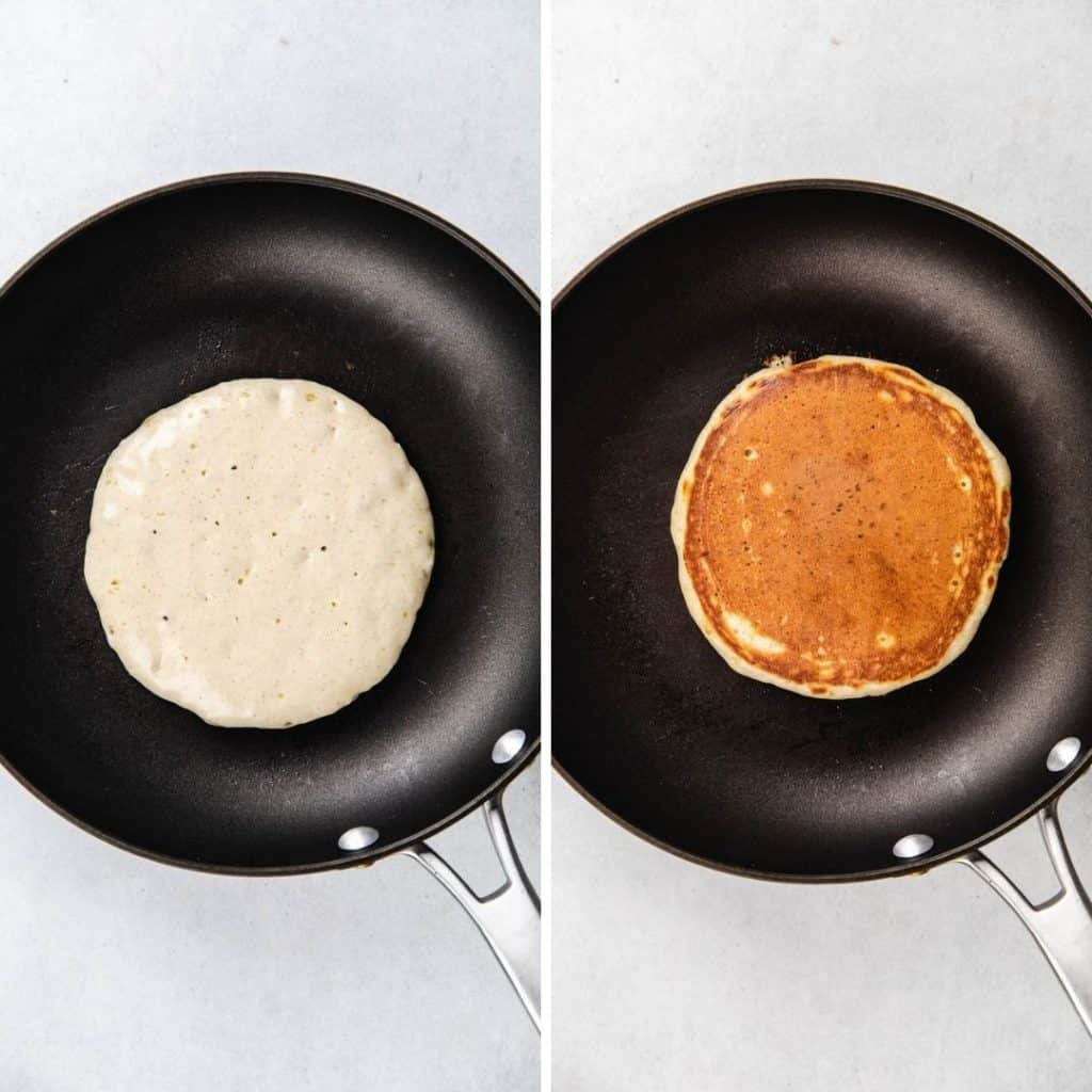 Process photos of cooking pancakes on a skillet.