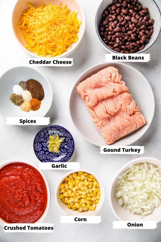 Ingredients for Turkey Taco Skillet.