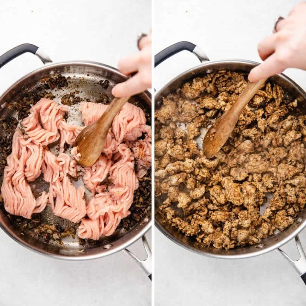 Process photos of cooking ground turkey.