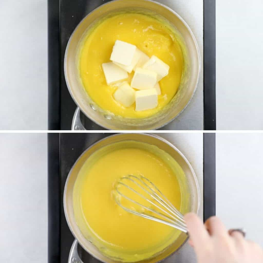 Process photos of adding butter to the lemon curd.