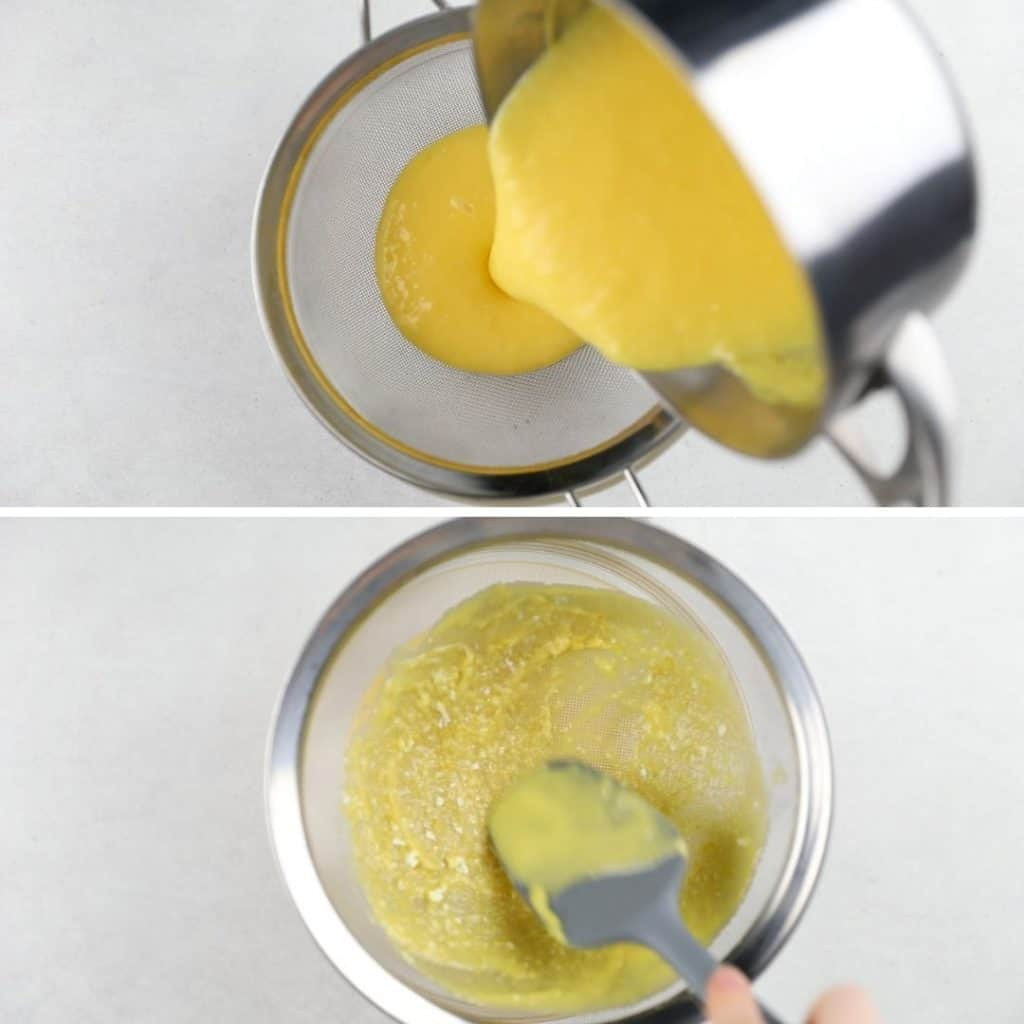 Progress photos of how to strain lemon curd through a mash sieve.