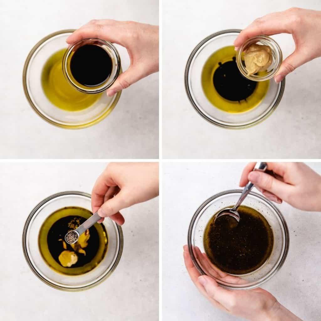 Process photos of making balsamic vinaigrette.