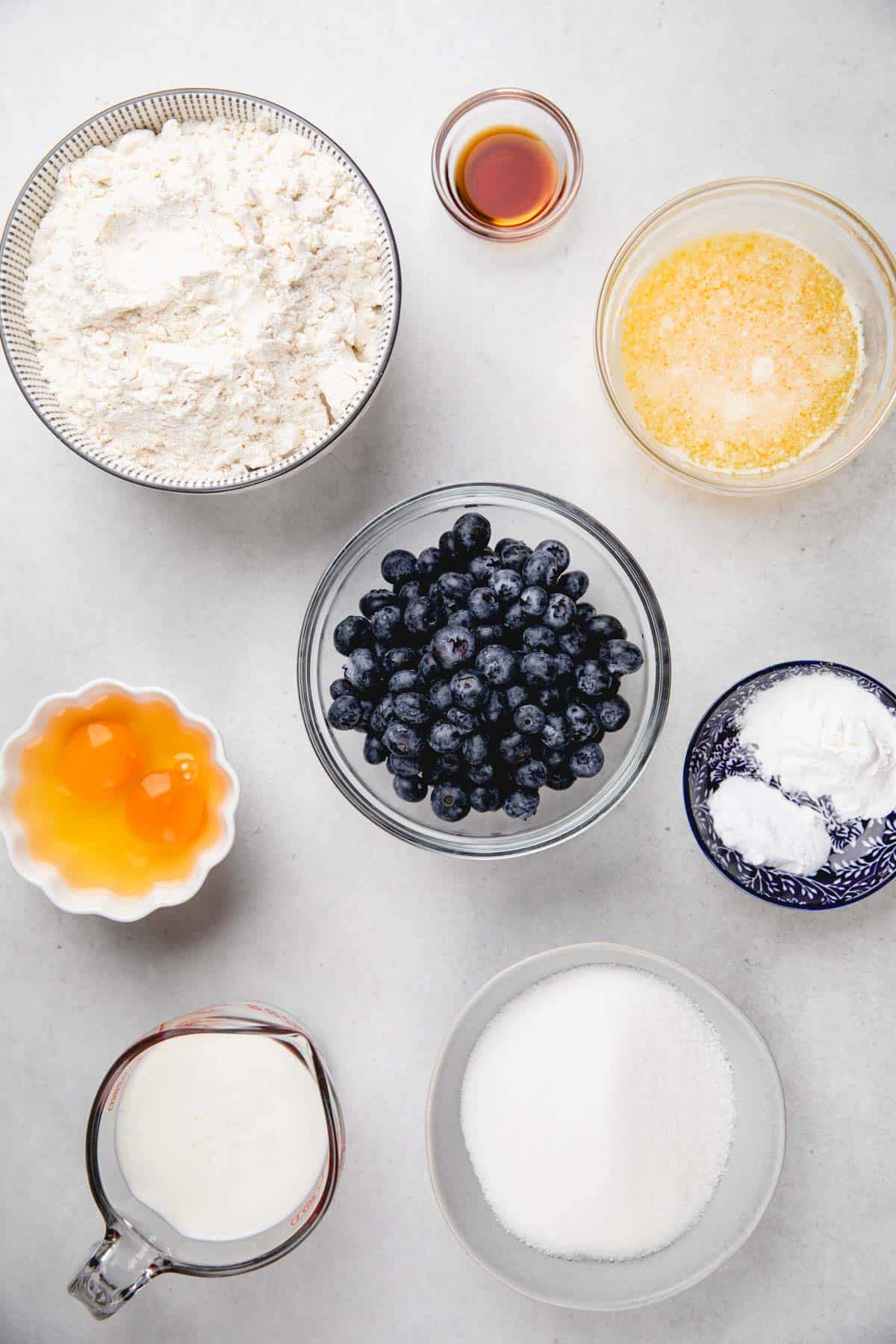 Ingredients for blueberry muffins.