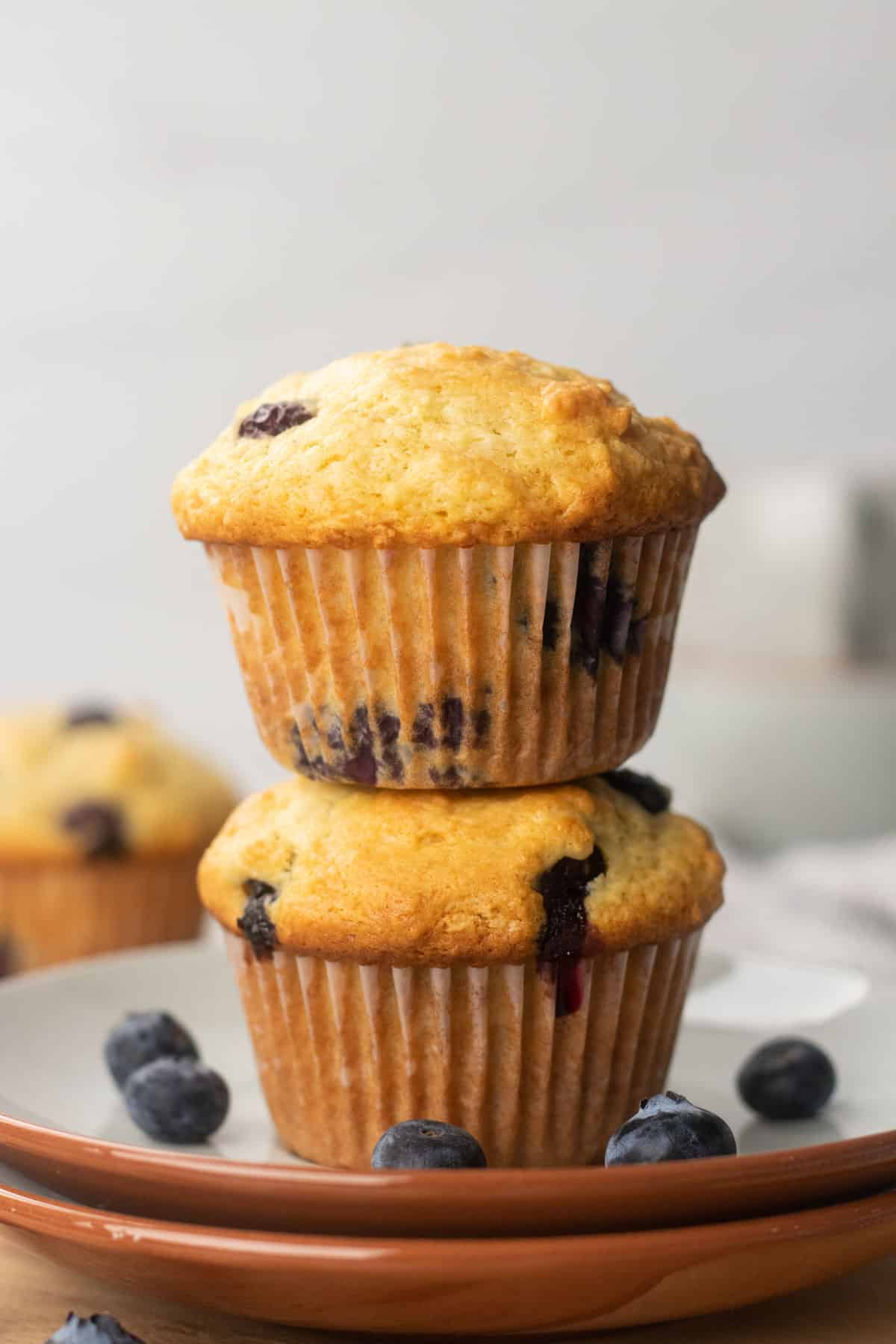 Two Blueberry muffins on top of each other.