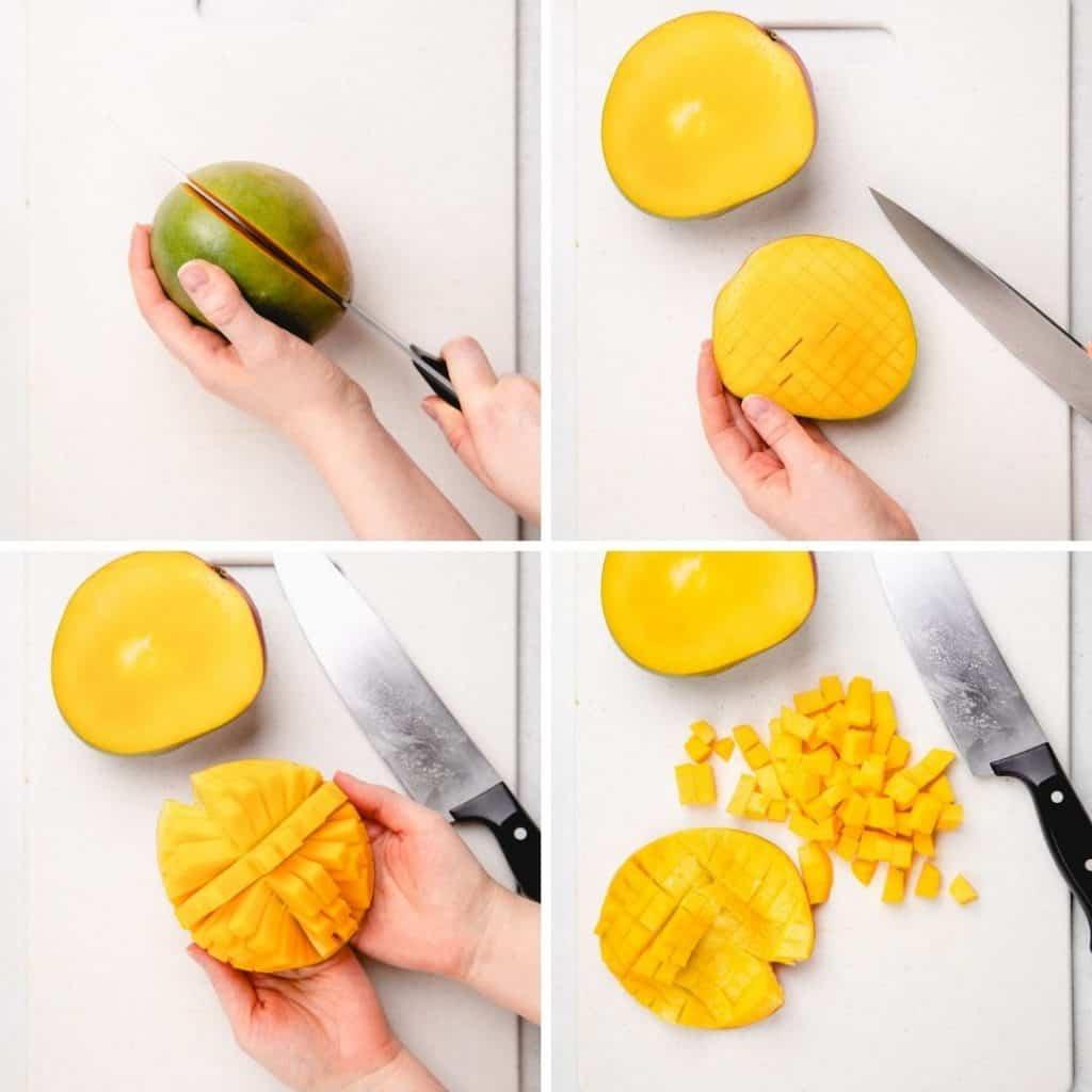 Process photos of cutting a mango.