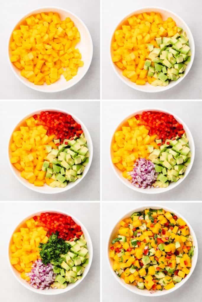 Process photos of making mango avocado salsa.