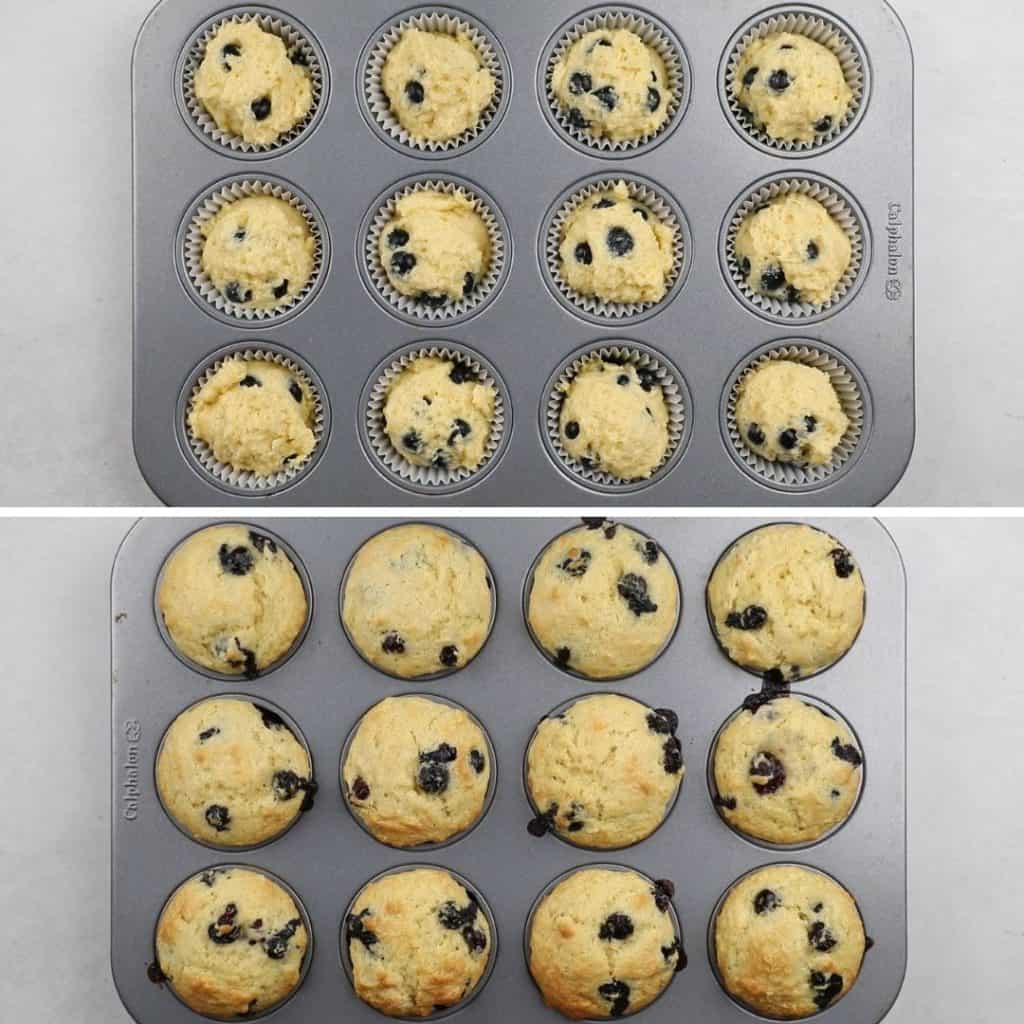muffins in the baking tip before and after baking.