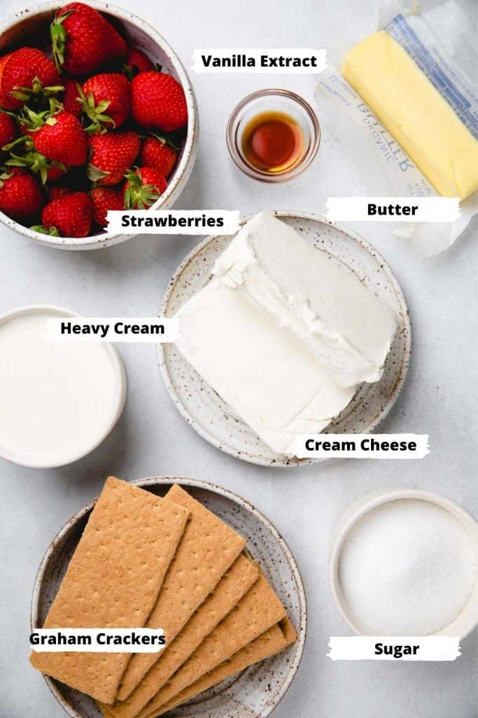 Ingredients for no bake Strawberry cheesecake bars.