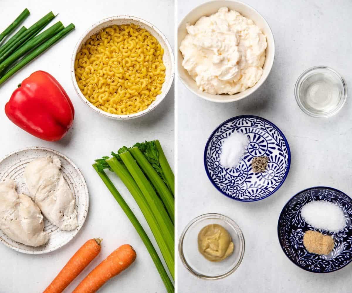 Ingredients for Chicken Macaroni Salad.