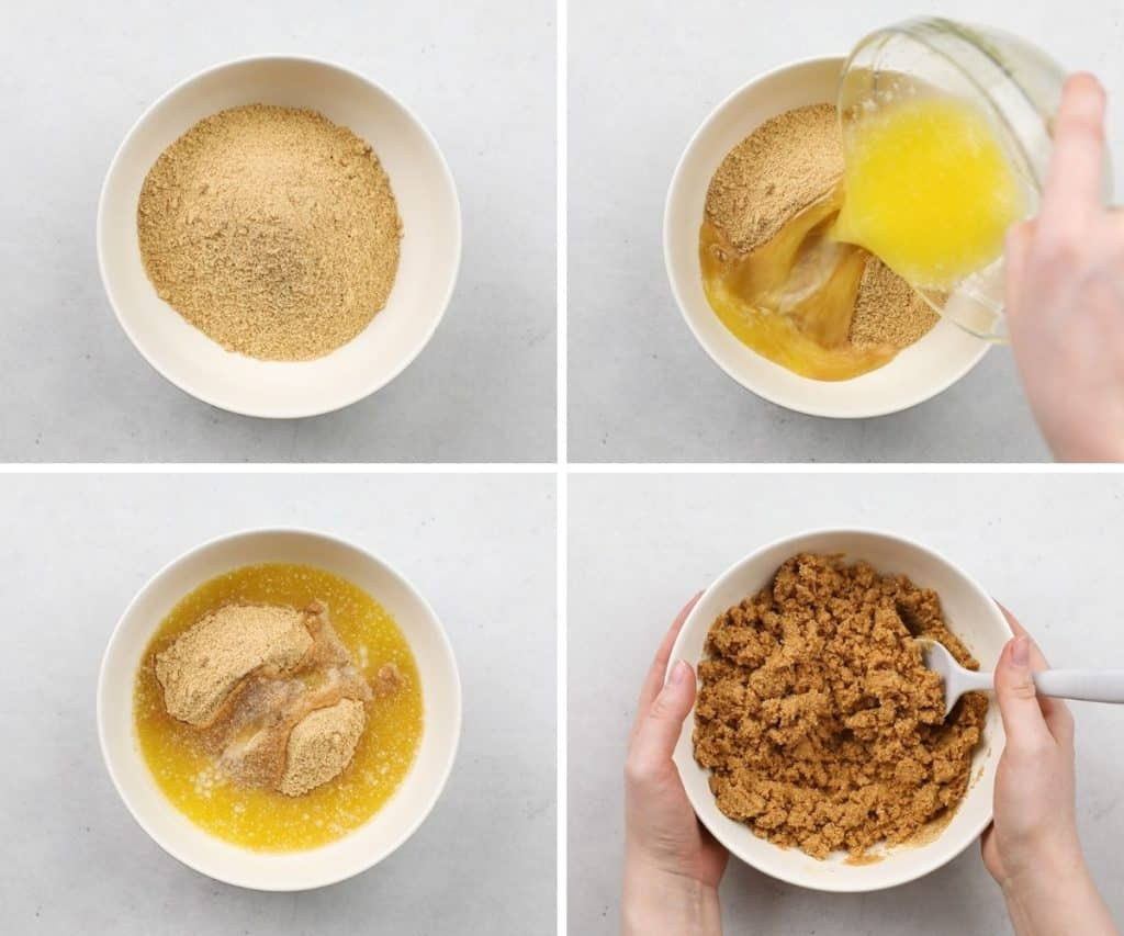 Process photos of mixing Gram cracker crumbs and melted butter.