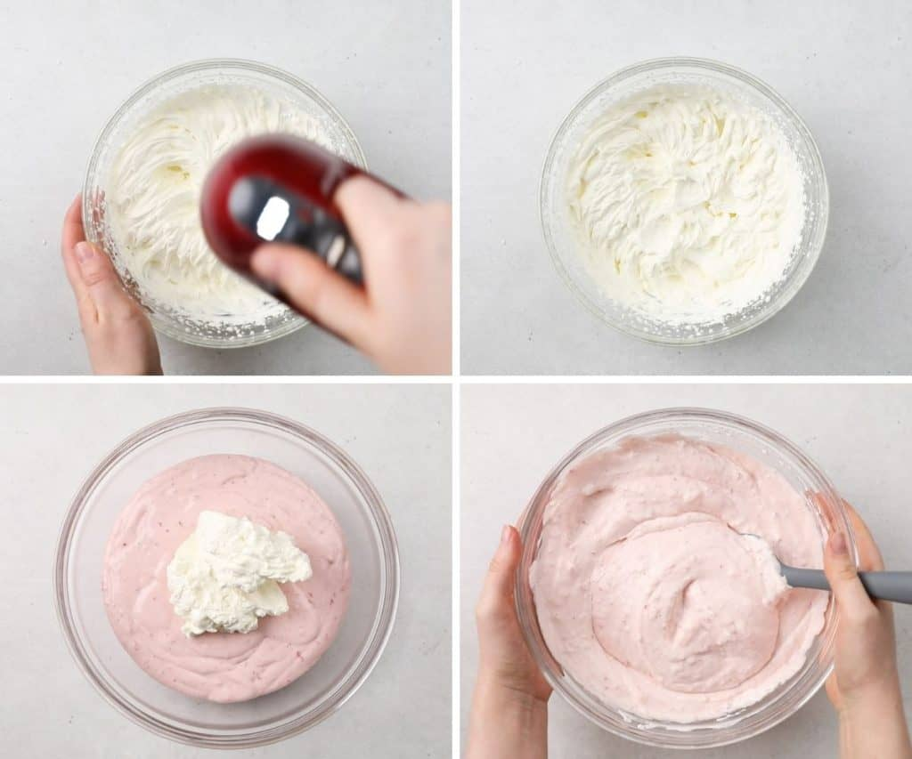 Process photos of whipping heavy cream and adding it to cheesecake filling.