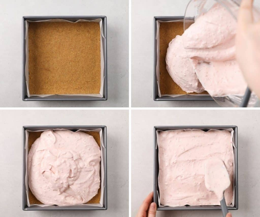 Process photos of how to make Strawberry Cheesecake bars.