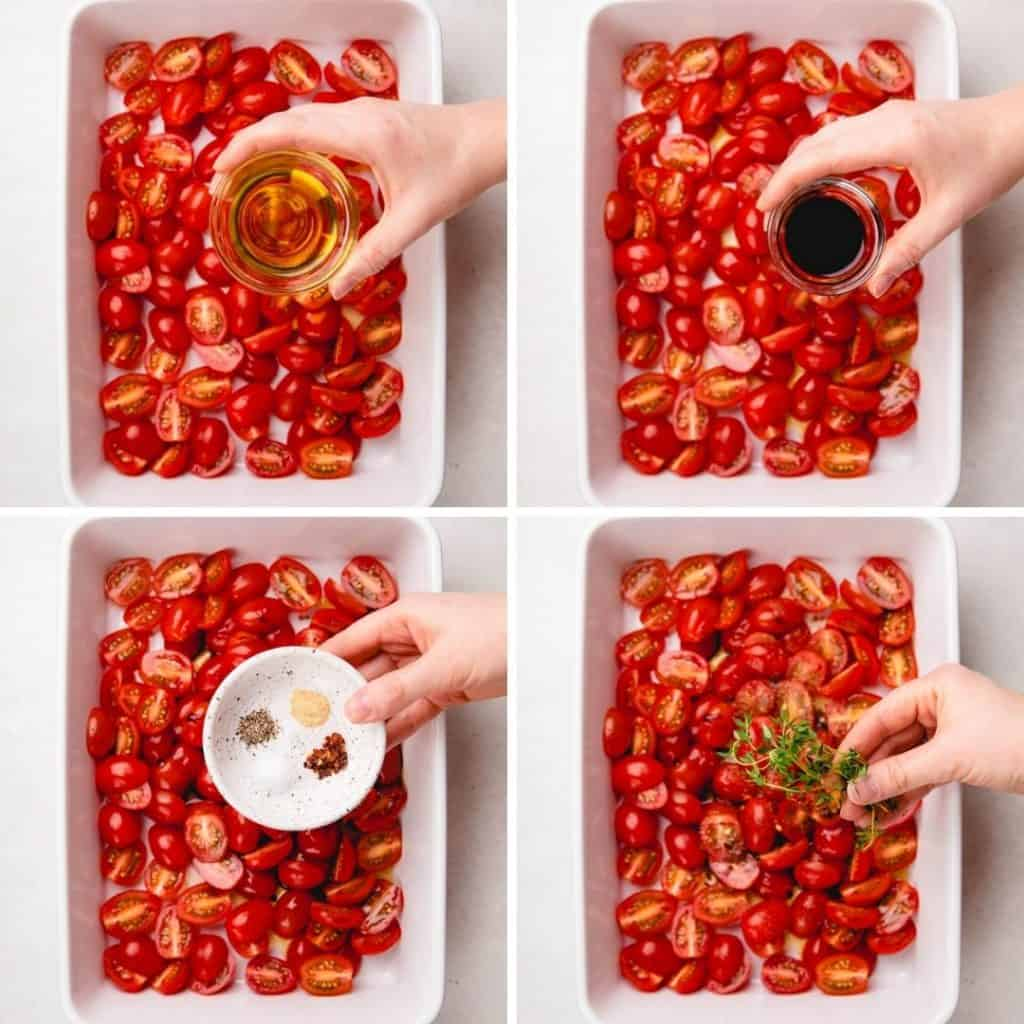 Process photos of how to roast cherry tomatoes.