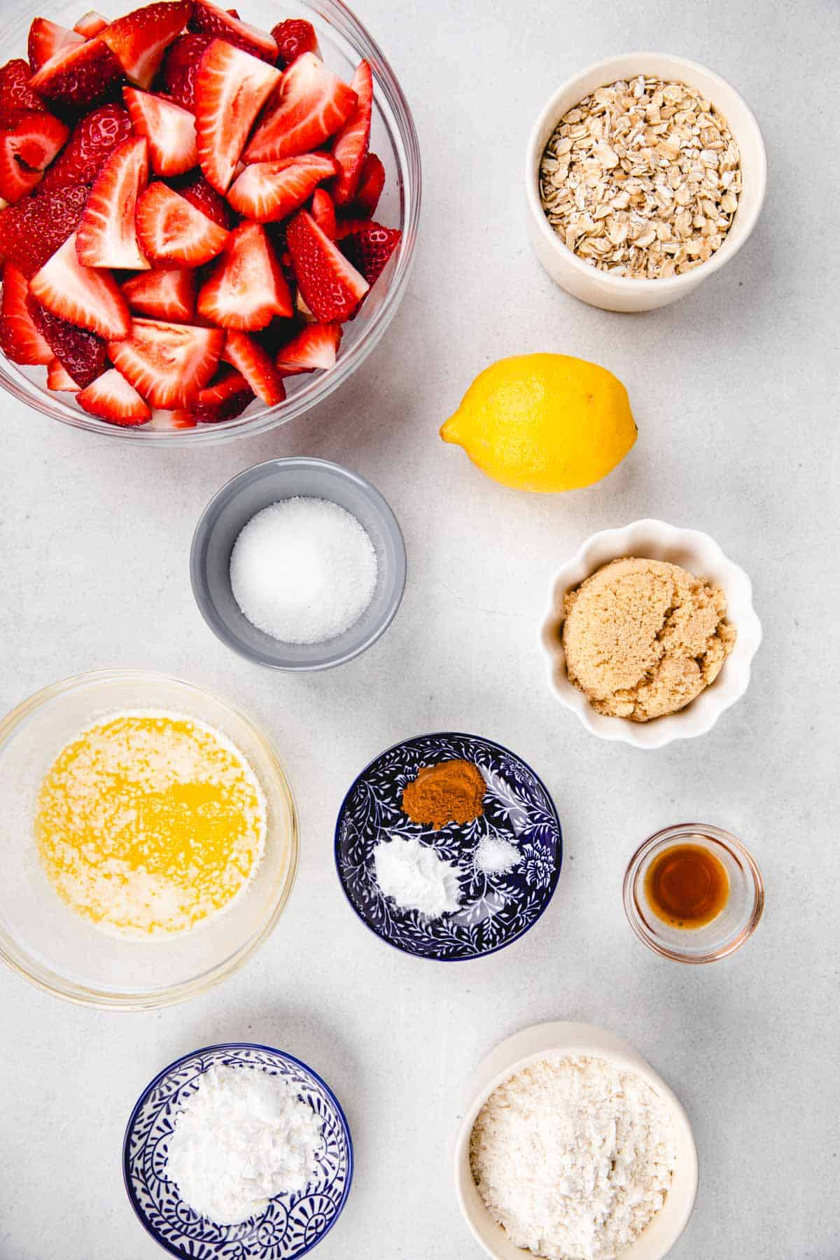 Ingredients in separate bowl for strawberry crumble.