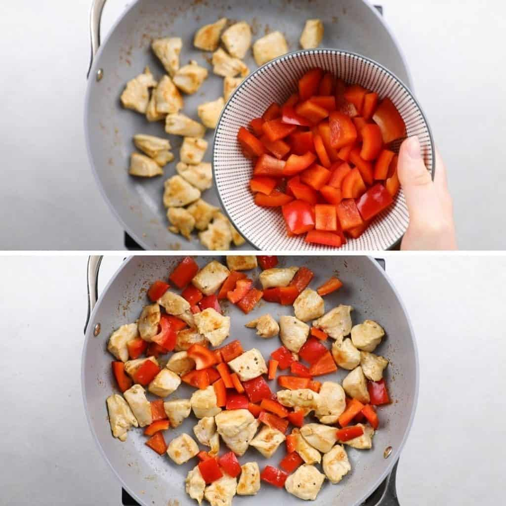 Process photos of adding chopped red bell pepper to cooked chicken in a grey pan.