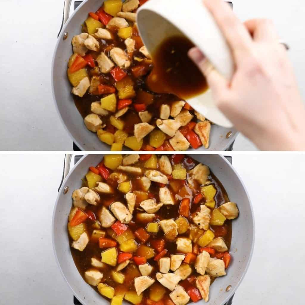 Process photos of adding sauce mixture to a chicken stir fry.