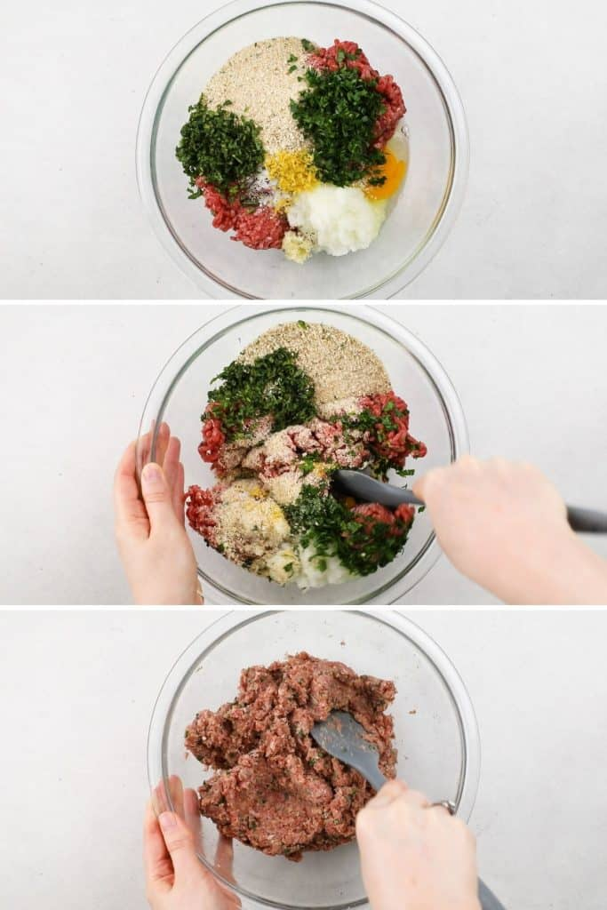 Process photos mixing ingredients for meatballs.