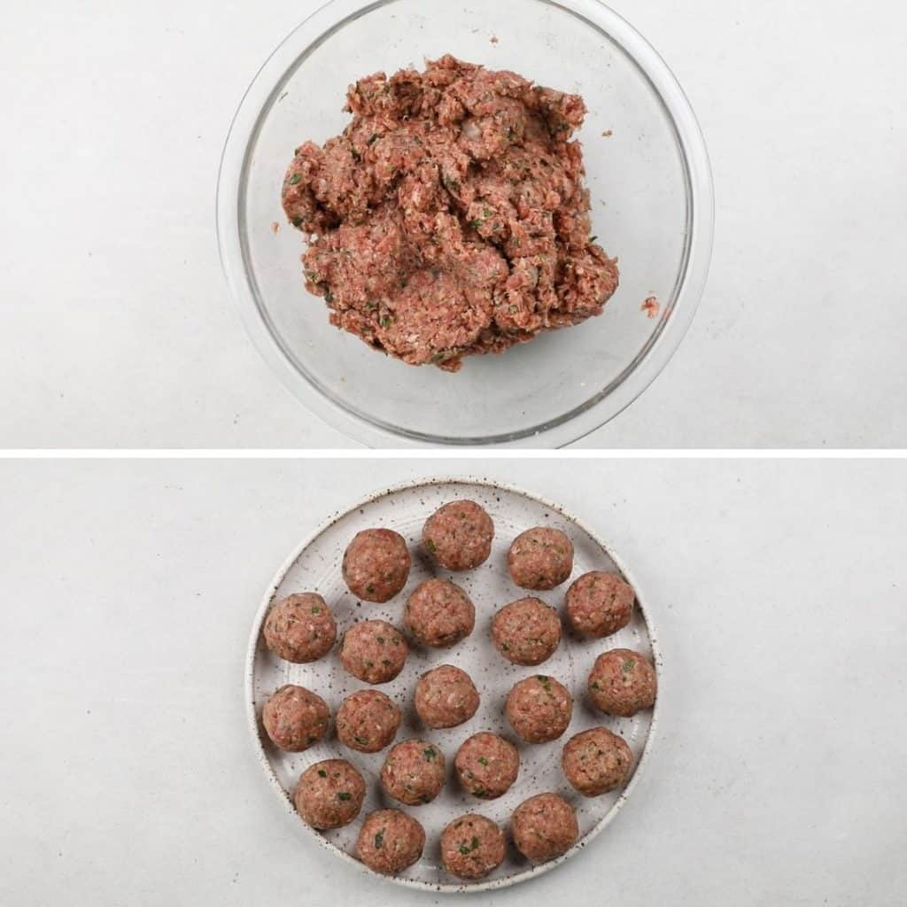 Top photo: meat mixture in a glass bowl. Bottom photo: Rolled meatballs on a plate.